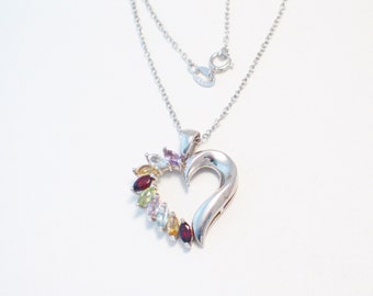Multi gemstone heart necklace pendant solid 925 sterling silver large open design garnet peridot aquamarine citrine amethyst marquise 18 in