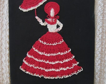 Pink Lady with a Parasol Needlework Picture