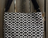 Diaper Bag, Cross Body Purse, Large, zipper closure, lots of pockets - Black and White Fabric
