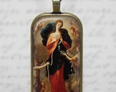 Mary Untier of Knots Glass Tile Pendant Necklace Catholic Marion Devotion Jewelry Domino Pendant  Holy Mother Necklace