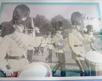Queen's Guard Marching Band Photo, College of William & Mary, 1960s, Black and White Snapshot