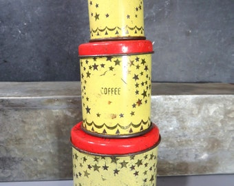 Vintage Wolverine Canister Set Toy, 3-Pieces, Sugar, Coffee, Tea, Gold Stars, Red Lids, Pretend Play