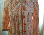 Classic Loose Fit Chambray Jacket Peach and White Plaid Pattern fabric size medium us 12