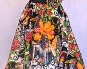 Woman's Retro Skirt, Dia Los Muertos, Sugar Skull, Day of Dead, Virgen de Guadalupe