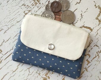 Small Women's Wallet and Coin Purse in Blue Calico Hearts