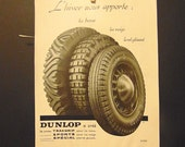 1930s French Art Deco Ad, Vintage Dunlop Tire Advertising 1936, 1930s Paper Ephemera, L'Illustration