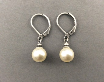Bridesmaids Gifts Drop Pearl Earrings Vintage Weddings Oxidized Silver With Cream Round Swarovski Pearls