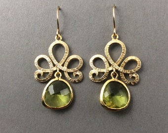 Gold Crystal Earrings With Peridot Faceted Glass