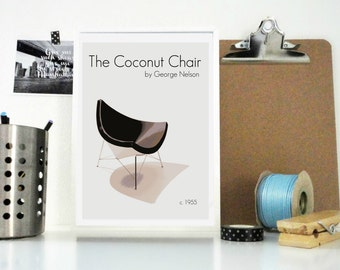 Art Print Poster The Coconut Chair by George Nelson Mod Retro Home Decor - Furniture Design - Home Decor Office Decor Wall Art