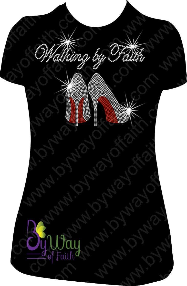 Walking By Faith Bling Rhinestone T Shirt Church Tee Women
