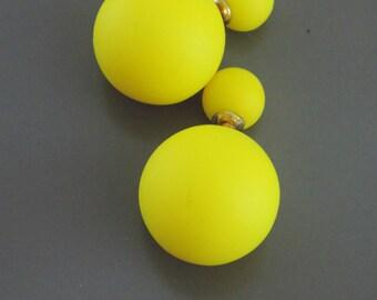 Ear Jackets - Statement Earrings - Neon Yellow Earrings - Double Sided Earrings - Ball Earrings - Stud Earrings - Earring Jackets