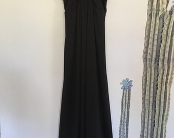 Vintage 70s Black Floral Inlay Empire Waist Maxi Dress