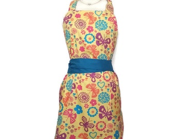 Classic Apron for women, cute aprons, Yellow and Teal flowers, Teal Ties, bridal shower, wedding or Christmas gift, optional monogram,