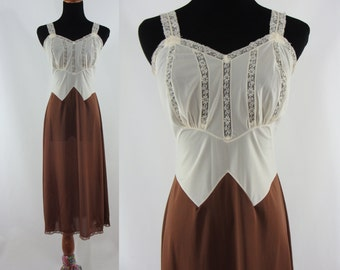 Vintage Sixties Slip - 1960s Cream and Brown Slip - 60s Night Gown - Vintage Nightgown