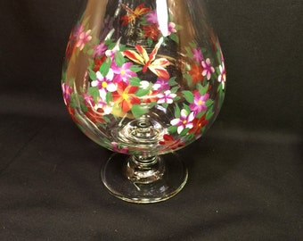 Hand Painted Brandy Glass - Dragonflies and Posies