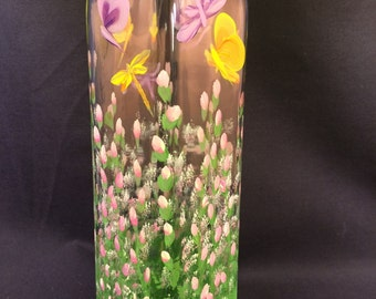 Hand Painted Glass Oil Bottle - Pink Posies with Dragonfly & Butterfly