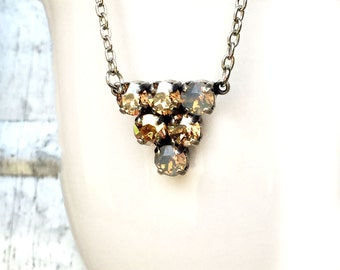 Cluster Necklace - Multistone Jewelry - Golden Necklace - Geometric Necklace - Triangle Necklace - Multicolor Necklace - Opal Necklace