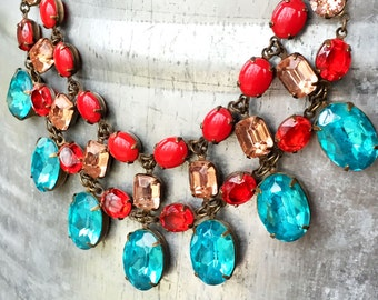 Crystal Statement Necklace - Multistone Jewelry - Chunky Crystal Necklace - Turquoise Statement Necklace - Colorful Wedding Necklace