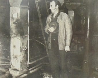 Vintage French Photo - Man Stood in a Factory/Workshop