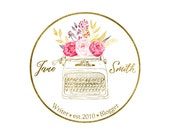 Premade customizable LOGO DESIGN with elegant watercolour flowers, vintage typewriter and classy gold circular frame