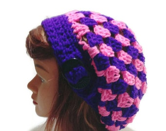 Buckle Tab Beret Neon Beret Modern Beret Neon Hat Slouchy Beret Buckle Tab Beanie Pink and Purple Hat Tam Hat Summer Hat Granny Square Hat