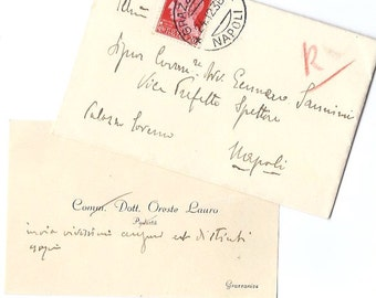 1936 Vintage correspondence from Italy - Handwritten Italian envelope with card inside