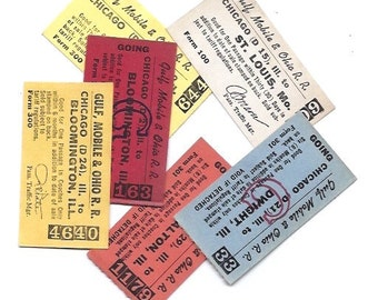 6 Chicago vintage tickets - Gulf, Mobile & Ohio R. R. TICKET Set