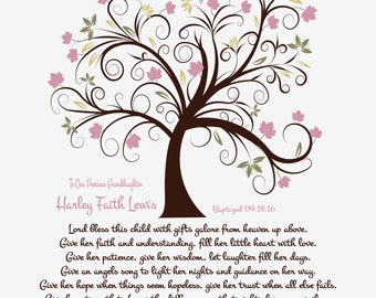 Baptism Gift for Her-Goddaughter-Granddaughter-Niece-Daughter-Christening Dedication Print-Personalized Prayer-Lord Bless This Child Poem