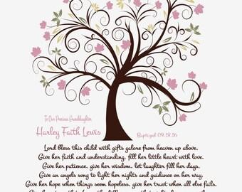 Baptism Gift Girl-Christening Poem-Dedication Print-Personalized Prayer-Baptism Gifts for Girls-Baptism for Her-Lord Bless This Child Poem