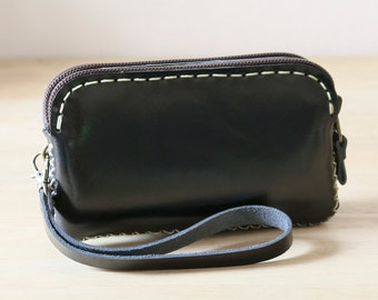 Hand Sewn Zipper Leather Pouch in black, IPhone 5s Leather Pouch, sdzi5s001