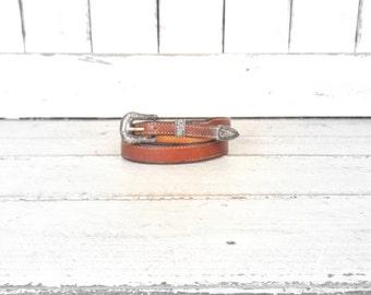 Vintage 925 sterling silver etched/engraved floral belt buckle/brown leather belt