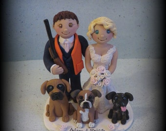 Wedding Cake Topper, Hunting Theme, Custom Bride and Groom with Two Pets, Personalized Topper, Polymer Clay Wedding or Anniversary Keepsake