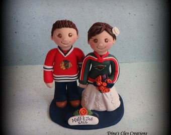 Wedding Cake Topper, Custom Wedding Topper, Bride and Groom, Sports, Personalized, Polymer Clay, Keepsake