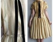 1950s Dress // Gilded Gold Dress // vintage taffeta 50s dress