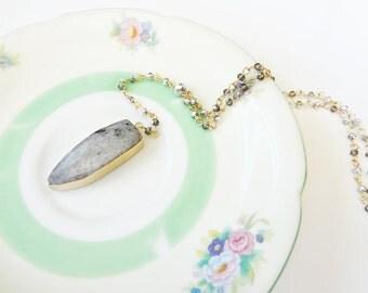 Labradorite Necklace Long Framed Bezel Stone Pendant Gold Rosary Bead Chain Boho Bohemian Gemstone Jewelry Beaded Y Drop Necklace