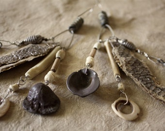 SNAKE DANCE Shoulder Duster Earrings - Ear Weights / Shed Snakeskin + Yucca Fiber + PMC Charms + Shell + Bone + 18g Sterling Ear Wires