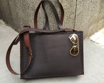 "Large Leather Tote, Laptop Work Cross Body 3 Pocket Handbag Handmade Stand Alone Tote Bag 11"" Drop Handles"