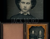RESERVED / Do Not Buy // 1850s Dag Two Girls ~ Creepy Stare of Death & Big Hair!
