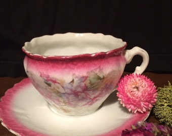 Victorian Tea Cup and Saucer - Pink Flowers - Wedding Table Setting - Teacup