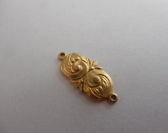 Brass Deco Oval Connector Solid Stamping Decorative Link Scroll Engraved Relic Charm