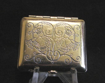Vintage Compact 1920s Compact Karess Woodworth Compact Wedding Compact Powder Compact Silver Plated Compact Mirror Compact Antique Compact