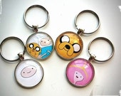 Adventure Time Glass Tile Key Ring