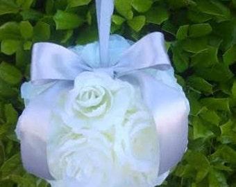 Flower Girl Pomander, Ivory Kissing Balls, Kissing Ball, Pomander Balls, Rose Pomander Balls, Hanging Kissing Balls, Wedding Decor