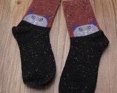 Cozy Lavender Cats Wool Socks