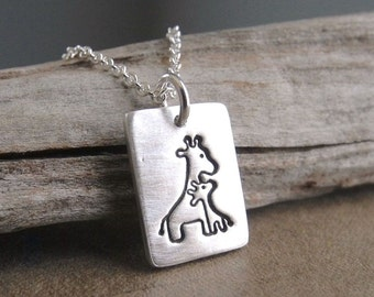 Small Mother and Baby Giraffe Necklace, Rectangle, New Mom Necklace, Fine Silver, Sterling Silver Chain, Made To Order