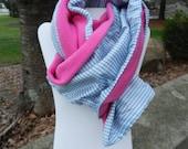 Blue Gingham Scarf w Pink Fleece