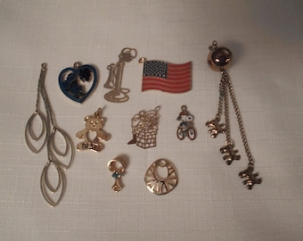 GOLD CHARMS / Charm Bracelet / Necklace Pendants / Destash / Jewelry Job Lot / Repair / Upcycle / Mixed Media / Art Project / DIY / Crafts