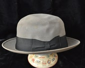 Vintage Dobbs Mens Fedora Hat/40s 50s Slate Gray with Black Band/Distressed As Is Theater Costume Detective size 7 3/8 long oval Antique