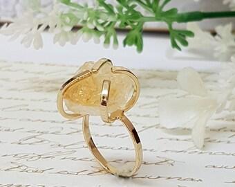 Raw Stone Ring, November Birthstone, Citrine Ring, Raw Citrine Ring, Gift Idea, Bridesmaid Ring, Citrine Jewelry, Birthstone Ring, Gift Idea