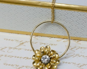 Women's Gift, Gold Necklace, Gold Flower Necklace With Sparkling Diamond Crystals, Floral Necklace, Unique Gift Ideas, Unique Jewelry